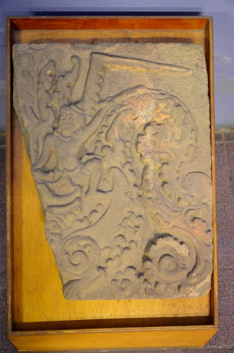 Lintel: Sandstone, 7th century: Lintel is the tangle stone which scave in general paturn that on the top of the door of the royal palace stone. (sic)