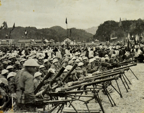 Lao Free Front army gathering in Xam Neua and Prongsaly provinces in August 1954.