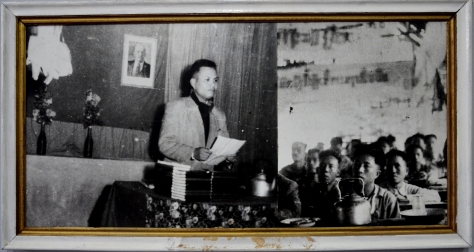 Comrade Kasysone Phomvihane presents reports to the first founding congress of the  Lao people's Revolutionary Party on 22nd March 1955 in Nameo village.