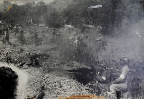 The hero named Sithong is commanding a battle to defend the two provinces in April 1955.