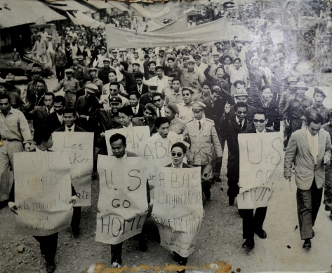 People in the liberated zone urge the US imperialists to leave Laos.