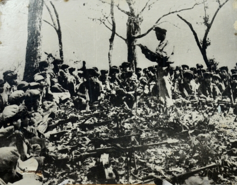 Lao liberation army assembled to take over the battlefield.