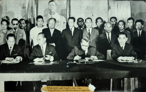The signing ceremony of the vientiane protocol on 14 august 1973
