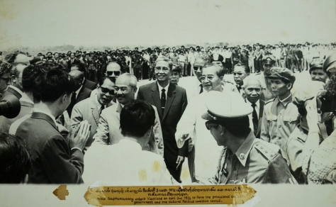 Prince SOuphanovong enter Vientiane on 3 april 1974 to form the provisional coalition government and the national political coalition council